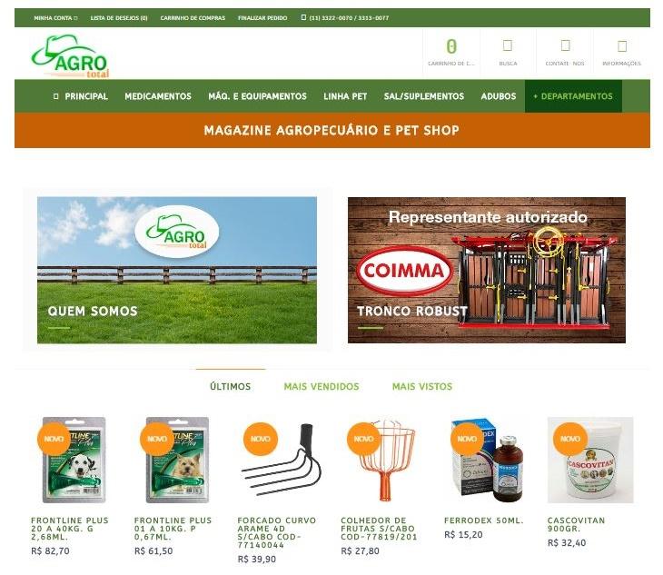 Homepage da Agrototal